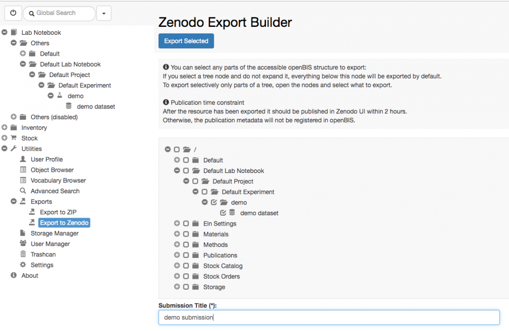 openBIS | Export to Zenodo